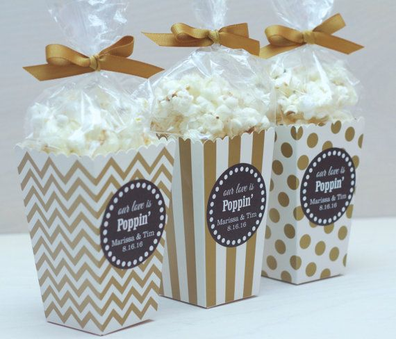 Your wedding guests will love our personalized popcorn box favors!