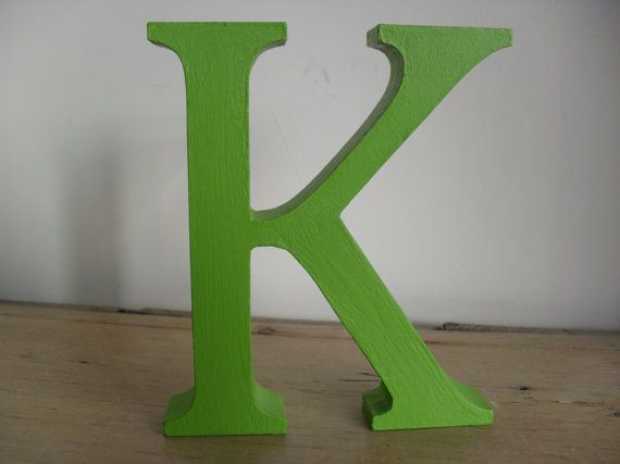 LETTER 'K' Freestanding MDF Letter UNISEX Gift Hand Painted and Waxed Bright Green Home Decor Stocking Stuffer Custom Words & Names to Order