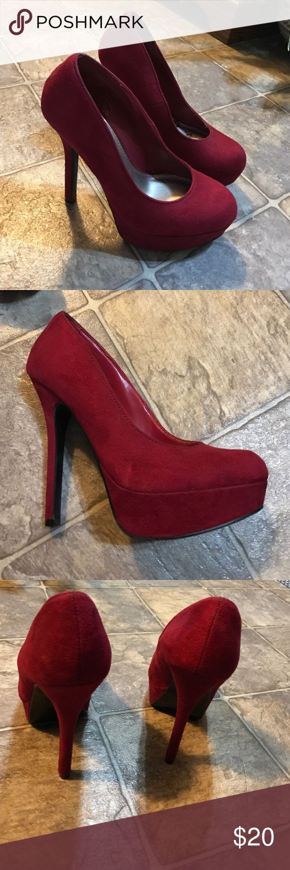 Red platform heels that are a soft material Red brash heels worn a few times but in excellent condition Shoes Heels