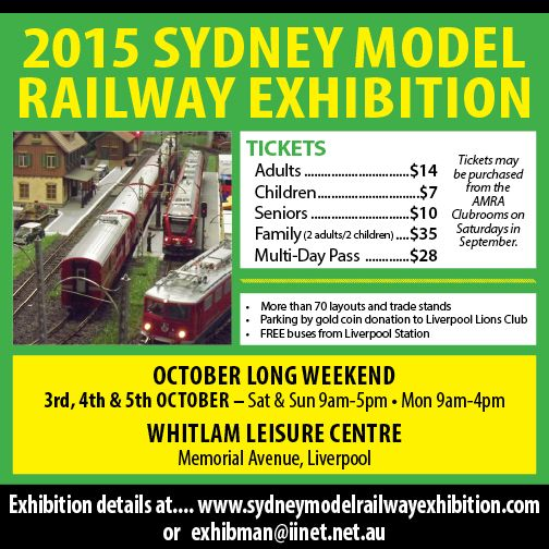 The Sydney Model Railway Exhibition is an annual railway modelling exhibition sponsored by the Australian Model Railway Association NSW branch inc.  The annual Sydney Model Railway Exhibition is held each Labour Day long weekend at the Whitlam Leisure Centre in Memorial Avenue Liverpool. (90a Memorial Ave, Liverpool NSW 2170).