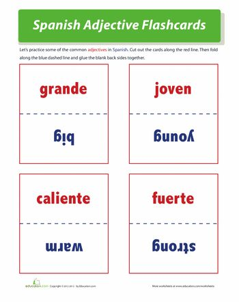 Worksheets: Spanish Adjectives