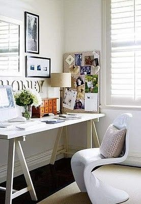 Adorable corner work area...this is a great idea.