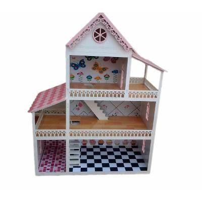 Casa Casinha De Boneca Polly Em Mdf Pintada Com Moveis 87cm - R$ 399,90 em Mercado Livre