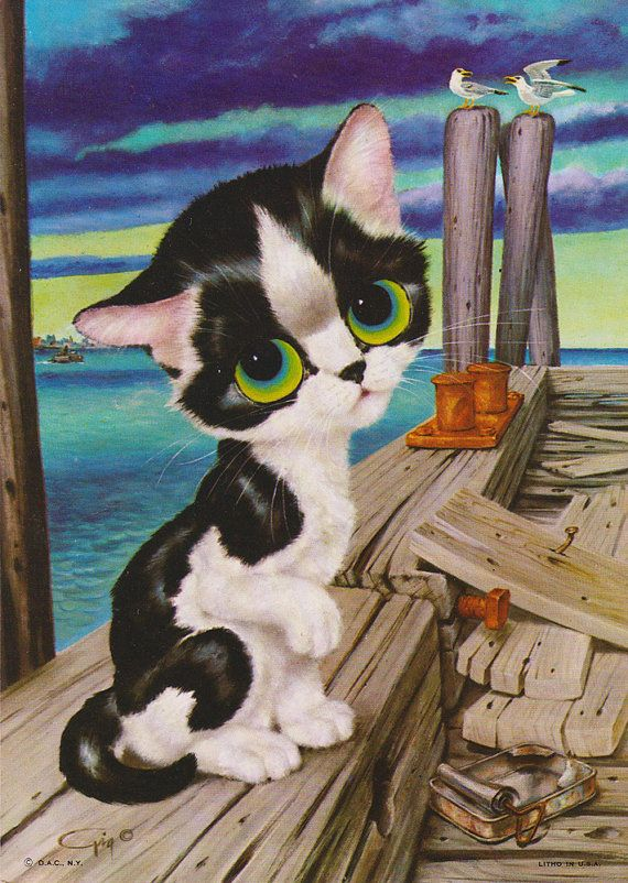 Vintage Gig Pity Kitty Print Color Lithograph Big Eyed Cat Litho 5x7 on Etsy, $11.95