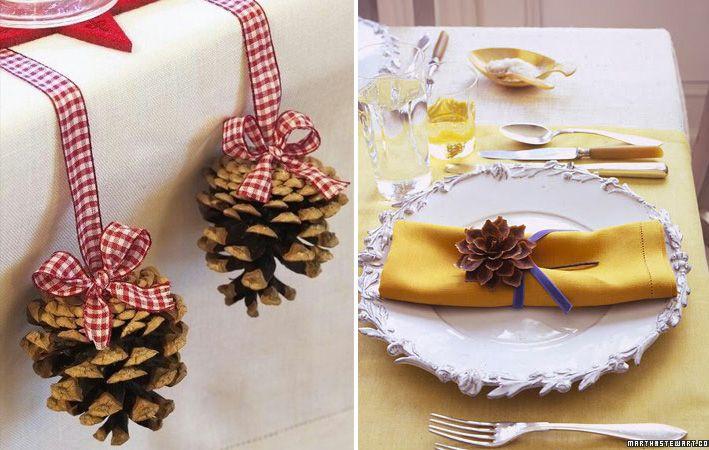 Utilizzo creativo delle pigne per segnaposto natalizi
