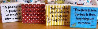 Dr seuss quote blocks, so cute as decorations