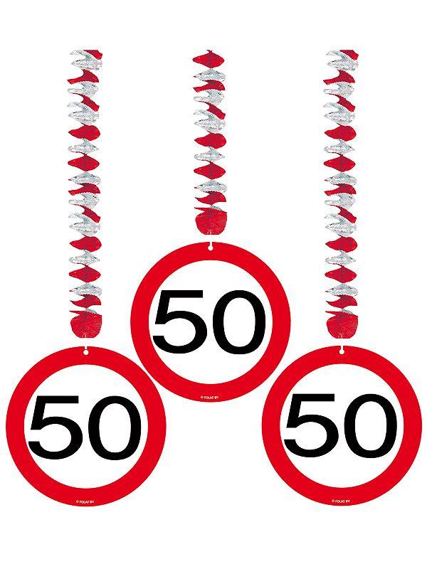Rotorspiralen 50 jaar verkeersborden 3 stuks. Feestelijke decoratie voor een 50e verjaardag of jubileum. U ontvangt drie stuks van deze stopbord rotorspiralen.