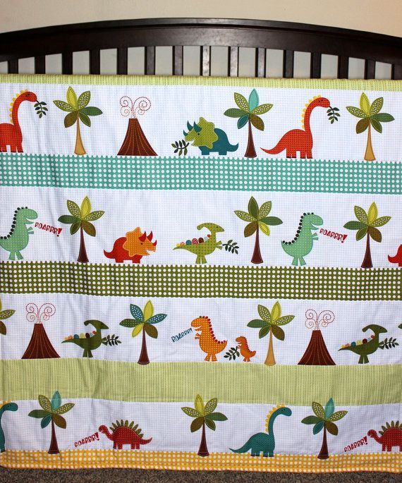 Modern Baby Dino Roars Quilt Dinosaur Bedding Dinosaur by NamiJane