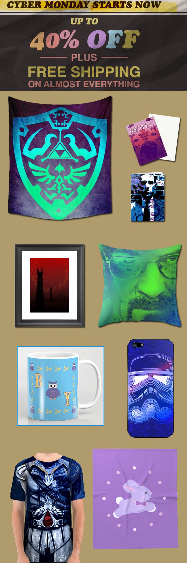 CYBER MONDAY 2017 40% OFF + FREE SHIPPING on almost Everything!! #cybermonday #cybermonday2017 #gifts #sales #save #discount #christmasgifts #xmasgifts #family #shopping #giftsforhim #giftsforher #society6 #shopping #style #tshirt #walltapestry #iphonecases #postcards #lovecraft #movies #breakingbad #fashion #style #homedecor #baby #babyblanket #babygifts #mug #coffeemug #home #cinema #dorm #home #thelegendofzelda #gaming #gamer #39 #geek