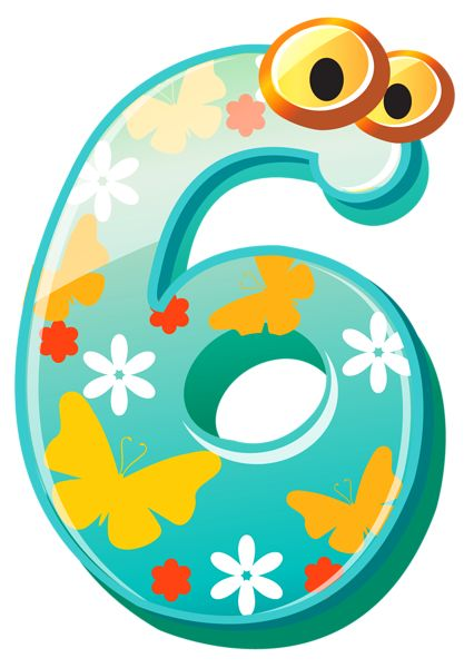 Cute Number Six PNG Clipart Image
