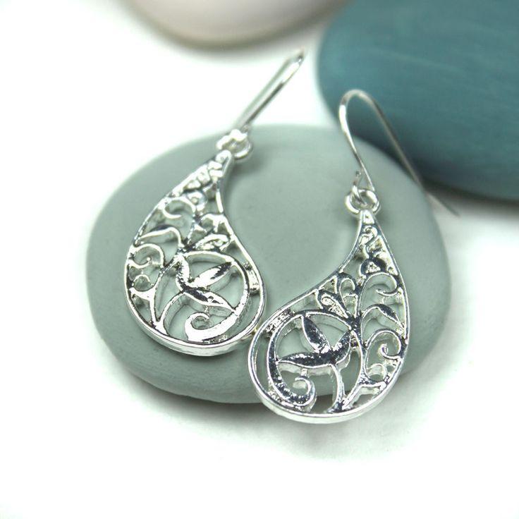 Silver Plated Paisley Shape Flower Earrings | eBay