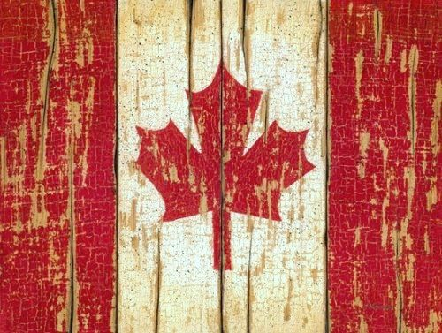 Canadian flag on chippy wood for the cottage