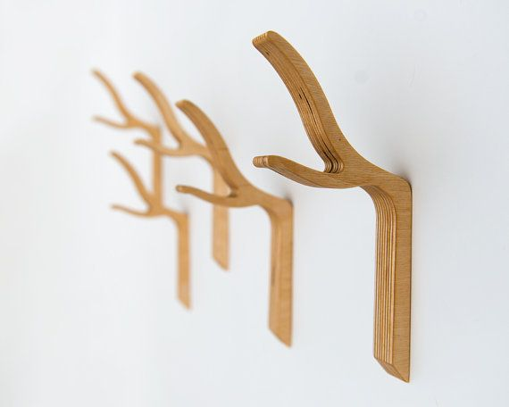 Modern Twig Coat Hook | But mounted on a wide wooden board, stained so that you can see the grain :)