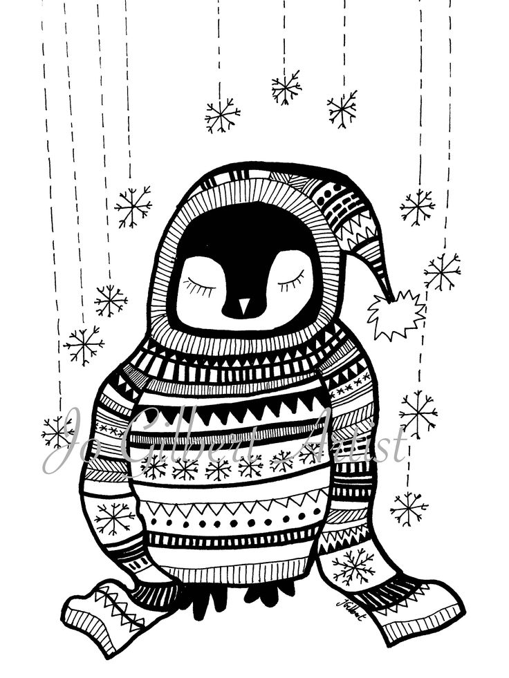 Christmas Penguin Coloring Page Download DIY Christmas