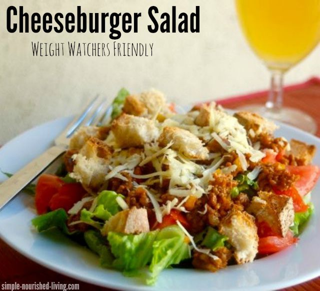 Lightened Up Cheeseburger Salad Recipe with 250 calories and 6 WW PointsPlus. A family favorite. http://simple-nourished-living.com/2015/08/cheeseburger-salad/