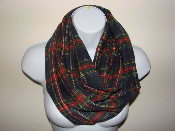 Navy Plaid Infinity Scarf Flannel Infinity Scarf by OtiliaBoutique