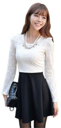 Amazon.co.jp: (アンフィニ) infini ウエスト切替 パワショル レースワンピース 黒+白 フリーサイズ: 服&ファッション小物