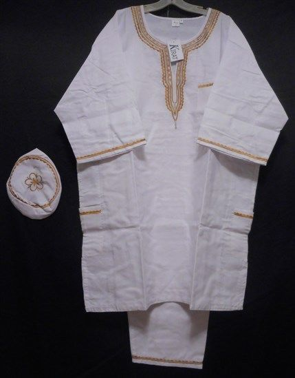 African Suit Ethnic Men Pant Suit Traditional Cultural Pant Set 1Size White Gold #Handmade #TraditionalPantSuit