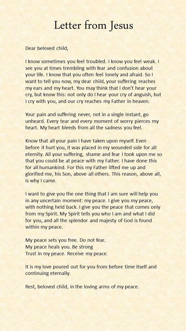 Letter From Jesus Prayer Quotes Bible Prayers Faith Quotes