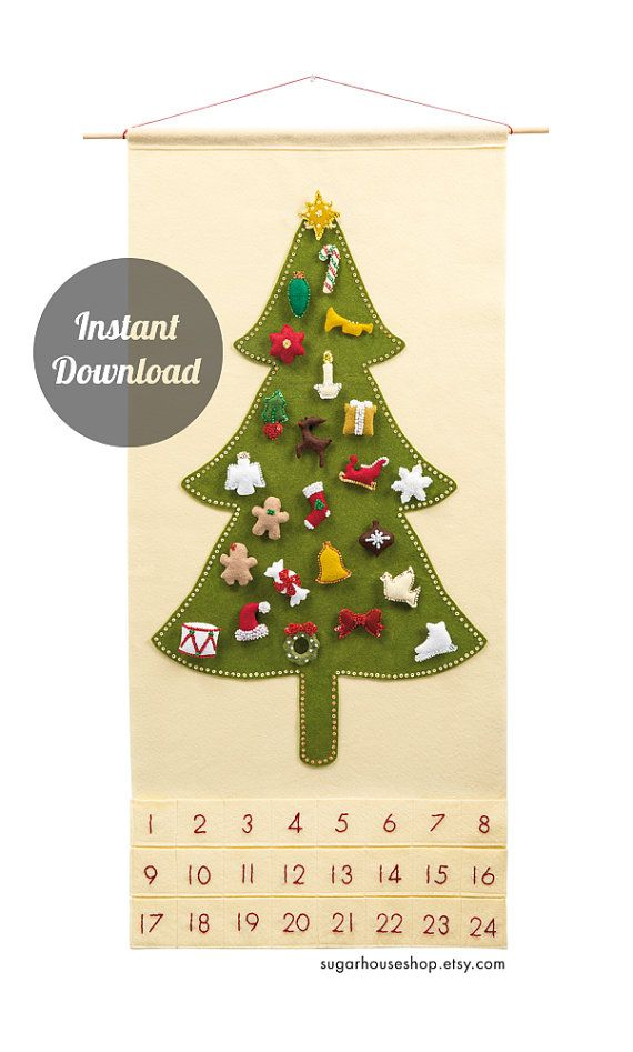 Felt Advent Calendar Pattern – Traditional Christmas Tree Countdown with 24 Treasured Character Ornaments – DIY – natal