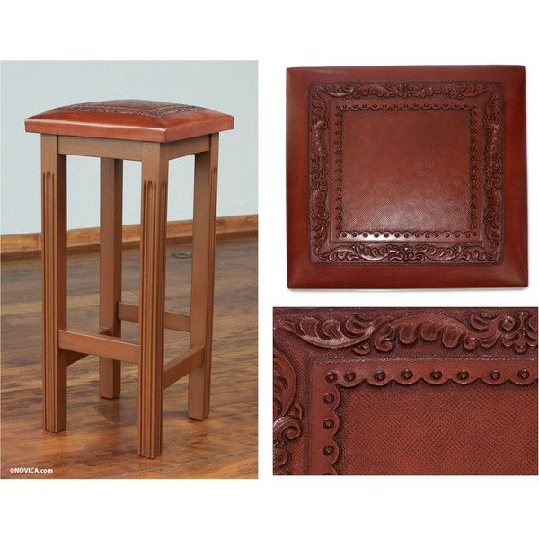 NOVICA Artisan Crafted Wood And Leather Bar Stool (265 CAD) ❤ Liked On  Polyvore
