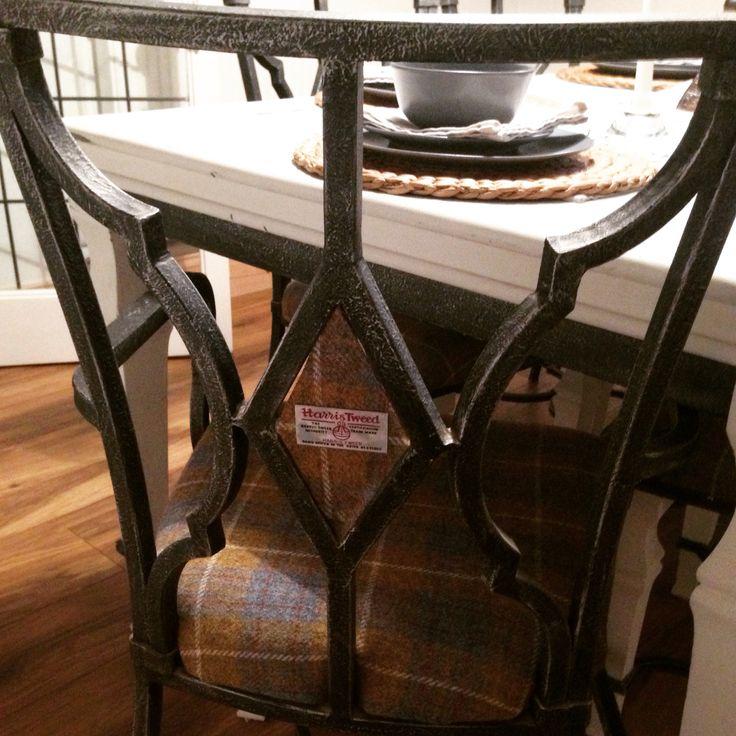 #anniesloan #chalkpaint #harristweed #hunterlodge inspired dining room chair #diy #homemade