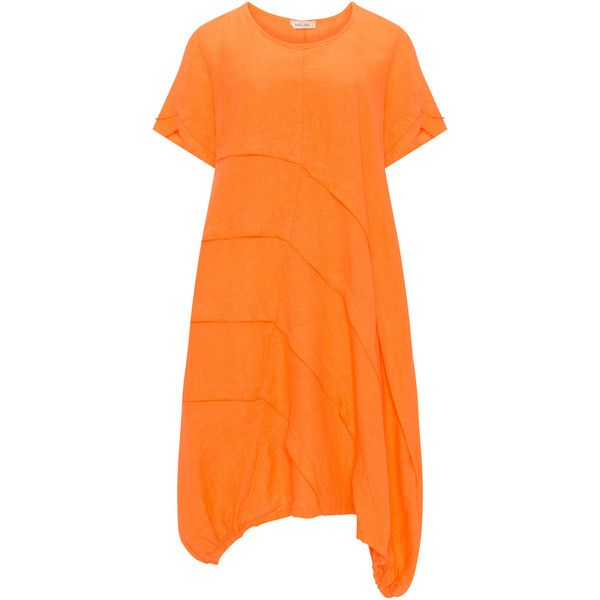 zedd plus Orange Plus Size Linen dress ($83) ❤ liked on Polyvore featuring dresses, orange, plus size, plus size linen dresses, a line dress, short sleeve a line dress, orange dress and women plus size dresses