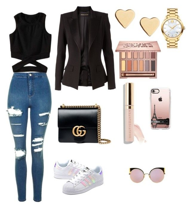 """""""Untitled #6"""" by sofiaskvrekova on Polyvore featuring Topshop, adidas Originals, Gucci, Alexandre Vauthier, Lipsy, Movado, Urban Decay, Beautycounter, Fendi and Casetify"""