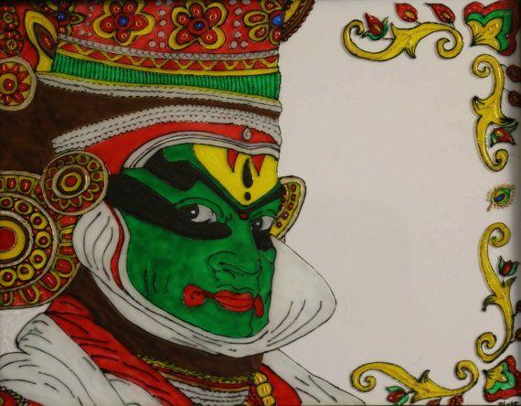 Glass painting Kathakali Dancer Face   Handmade by GoldPeacocks