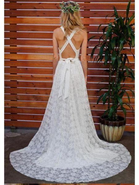 7c07903e624 Sleeveless Simple Lace Wedding Dresses V Neck Summer Beach Wedding Dresses  – SheerGirl