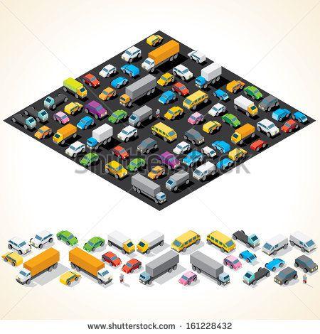 Car Parking. Various Automobiles, Trucks, Buses. Isometric Vector Illustration by PILart, via Shutterstock