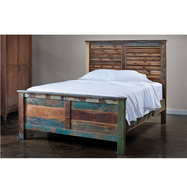 reclaimed wood queen bed wb designs