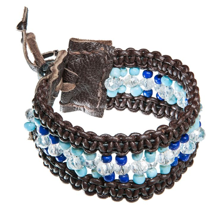 Brown wide leather bracelet with turkish and blue beads