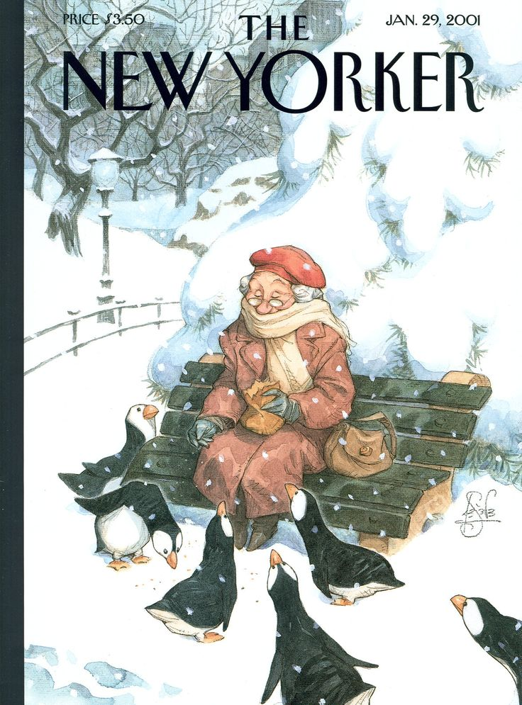 "The New Yorker - Monday, January 29, 2001 - Issue # 3922 - Vol. 76 - N° 44 - Cover ""Snowbirds"" by Peter de Sève"
