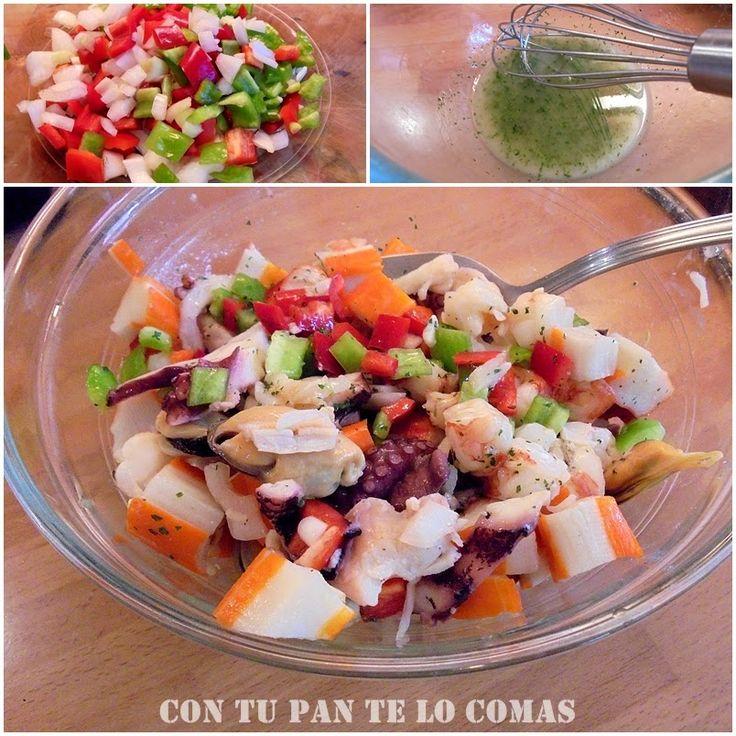 Una ensalada deliciosa para cualquier época con el marisco que te guste más.