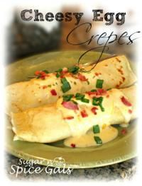 Cheesy Egg Crepes Love waking up to this delicious breakfast! #crepes #eggs #cheesy