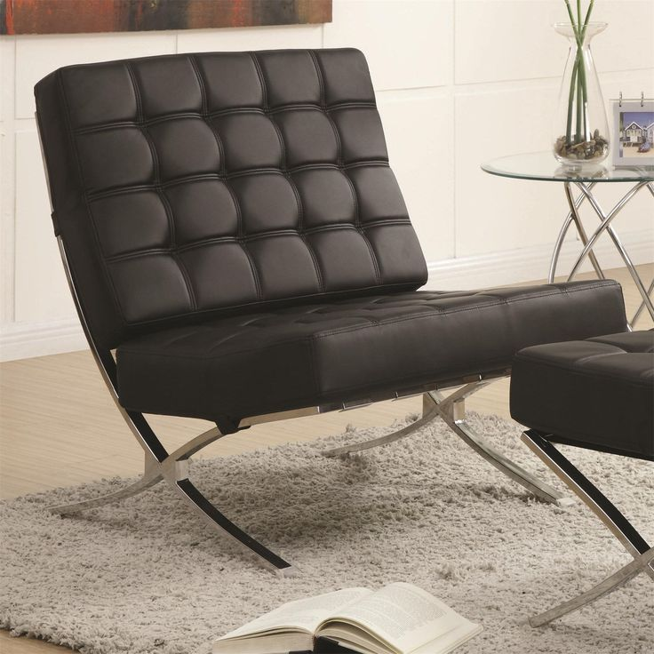 Coaster Furniture 902181 Contemporary Waffle Accent Chair In Black Chrome