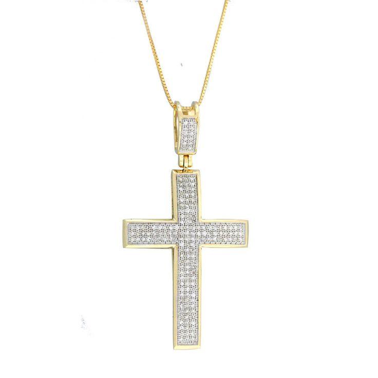 14k Gold 1/2ct. TDW Diamond Cross Necklace with Pendant