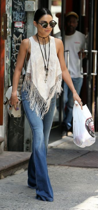 Vanessa Hudgens Fringed Poncho                                                                             Source