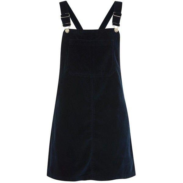 Topshop Petite Velvet Bib Pini Dress ($53) ❤ liked on Polyvore featuring dresses, navy blue, navy dress, topshop dresses, navy blue dress, bib dress and day to night dresses