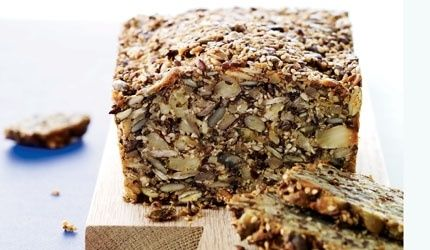 Stone age bread, no flour. We danes eat Rugbrød for lunch and this is a ryebread without yeast or sugar. Very simple and delicious