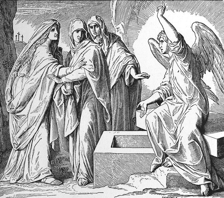 Bilder der Bibel – Die Frauen am Grab Jesu – Julius Schnorr von Carolsfeld   – Bilblische Bilder und Zeichnungen
