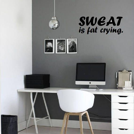 Sweat is fat crying – wall decal, gym decor, wall art, motivational quote – Etsy