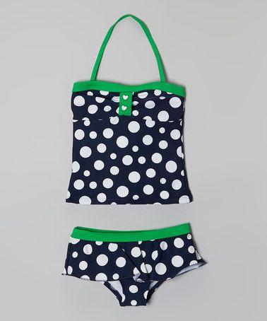 Look at this #zulilyfind! Navy & Green Polka Dot Tankini - Girls #zulilyfinds
