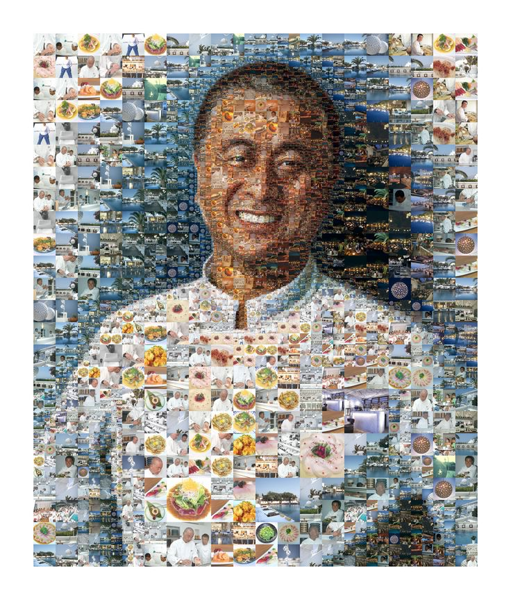 Nobu Matsuhisa's portrait created for the 10 Year Anniversary of Matsuhisa Mykonos by Charis Tsevis