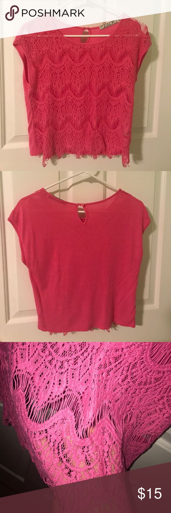 Pink Crochet Tee Great condition! See through in the front and covered in the back. I have long torso so it falls around my belly button if that helps lol Chloe K Tops Tees - Short Sleeve