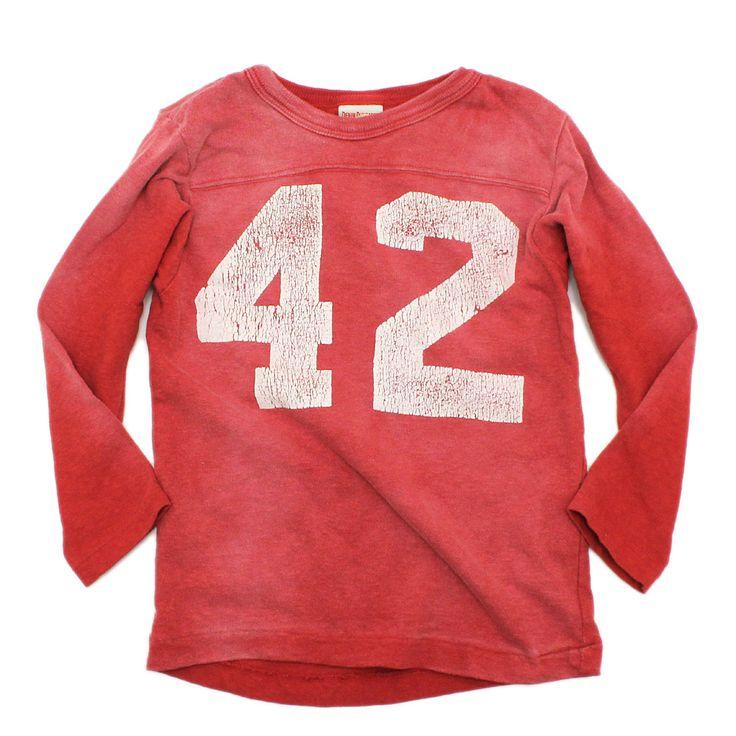 DENIM DUNGAREE(デニム&ダンガリー):ビンテージテンジク 42 9分袖Tシャツ 5R赤 の通販【ブランド子供服のミリバール】