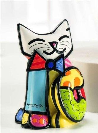 Amazon.com: New Romero Britto Fun Cat Ceramic Authentic Figurine Sculpture Collectible Gift: Home & Kitchen