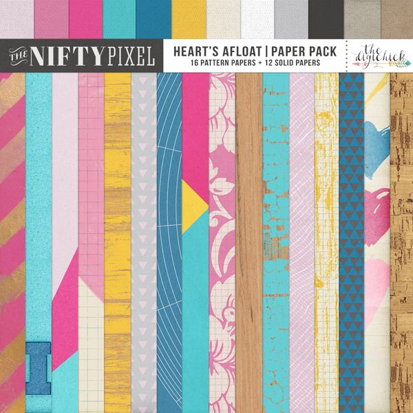 HEART'S AFLOAT | Paper Pack Heart's Afloat Paper Pack is a gorgeous bright and bold mix of florals, geometrics and patterns perfect for scrapping any theme but with a few key sheets typically Valentines or L.O.V.E inspired you will be well on your way to declaring your love.  DOWNLOAD INCLUDES:  16X Patterned Papers 12X Coloured Kraft Paper
