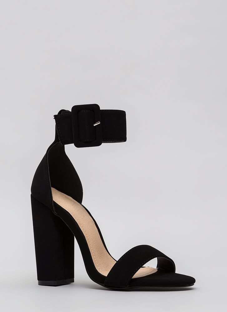 2f48531ae5 Looky Here Faux Nubuck Chunky Heels BLACK NUDE - GoJane.com | SHOES ...